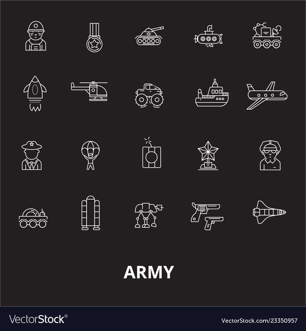 Army editable line icons set on black