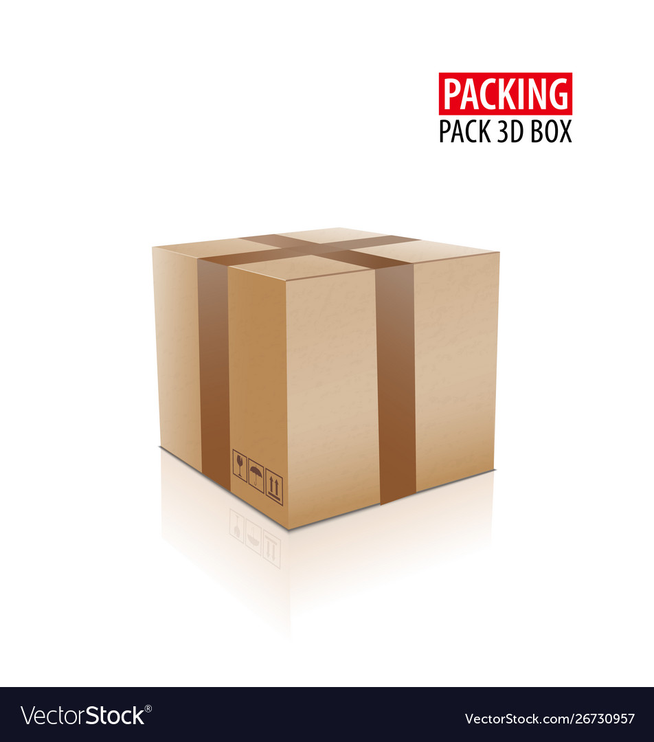 Brown closed carton delivery packaging box with