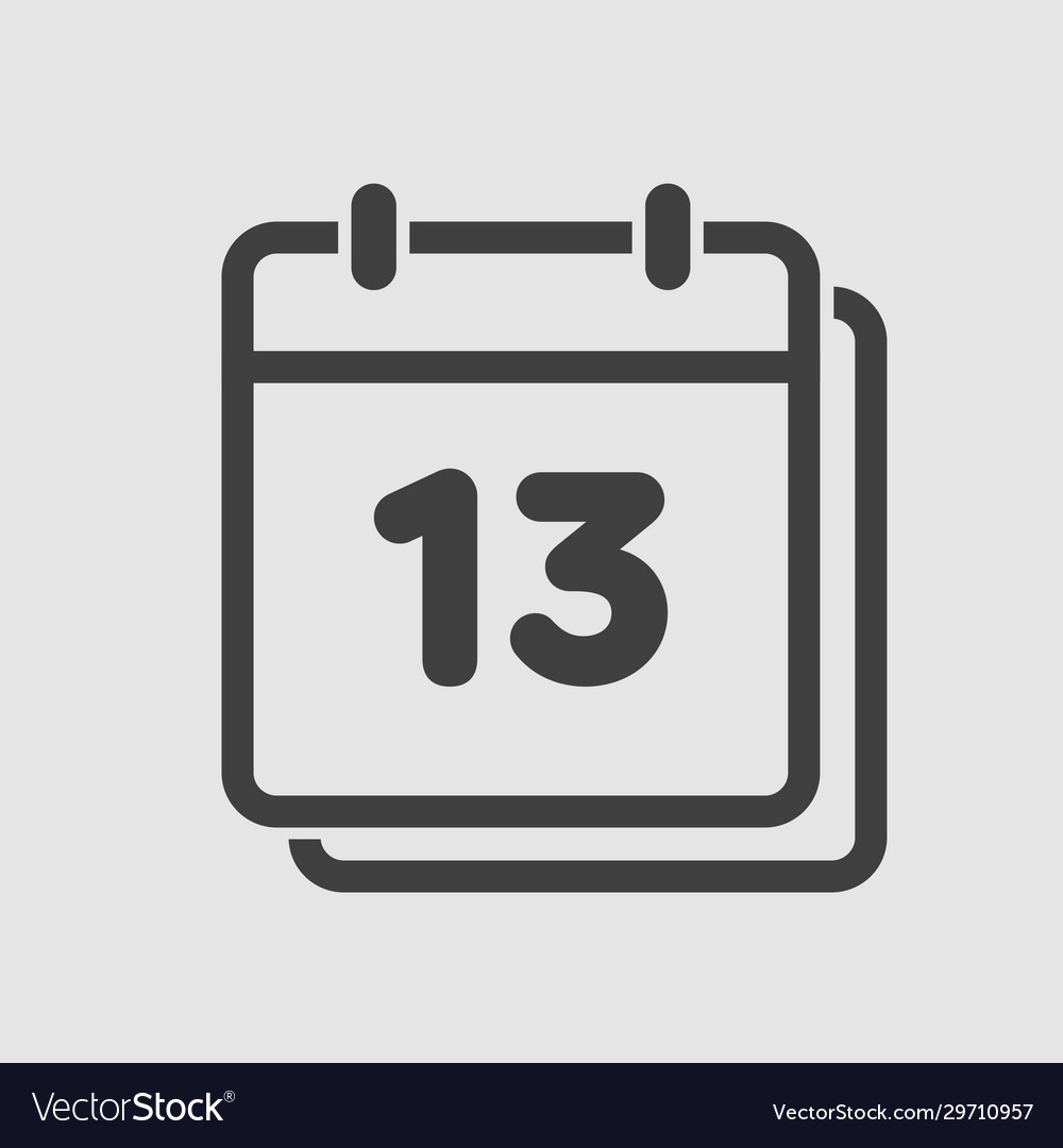 Icon calendar day number 13 line flat