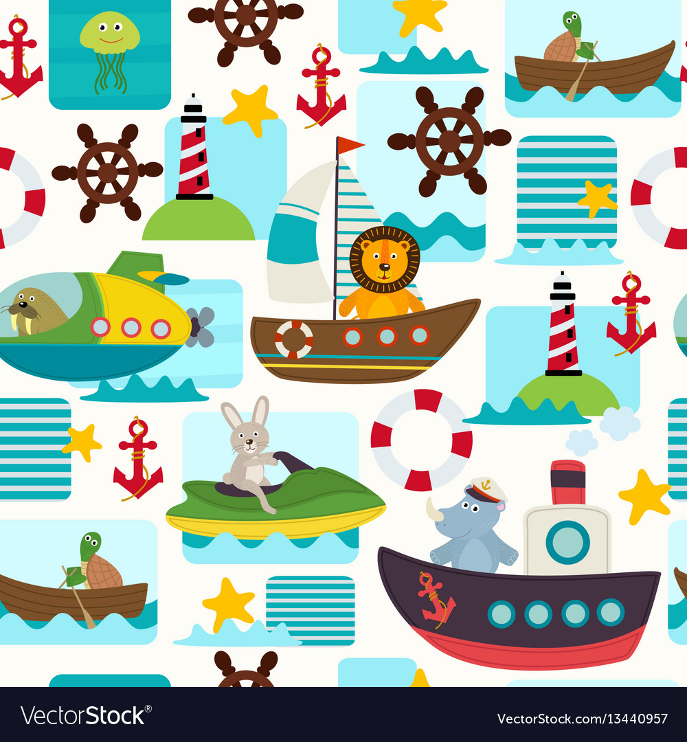 Seamless pattern sea transports with animals