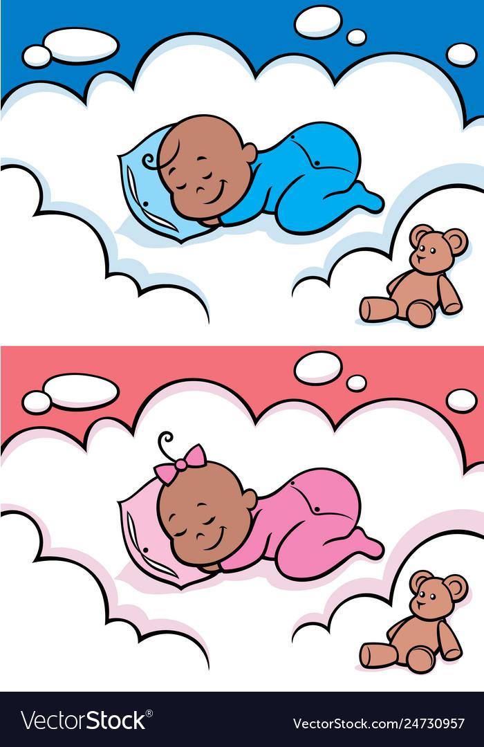 Sleeping baby black