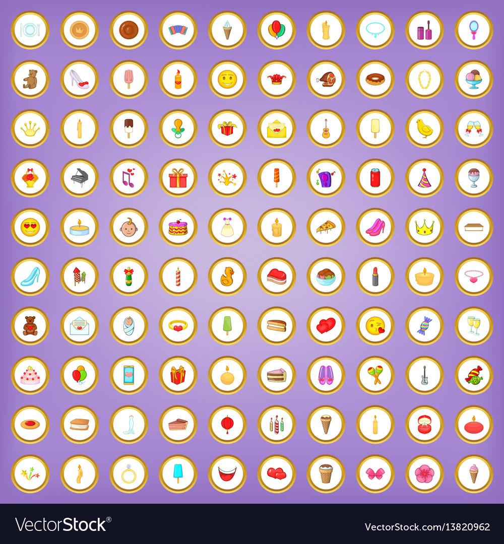 100 birthday icons set in cartoon style