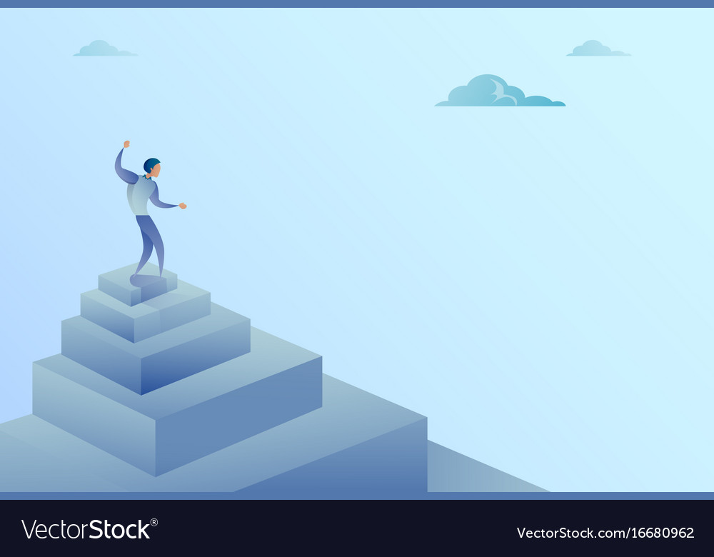 Business man standing on stairs top finance growth