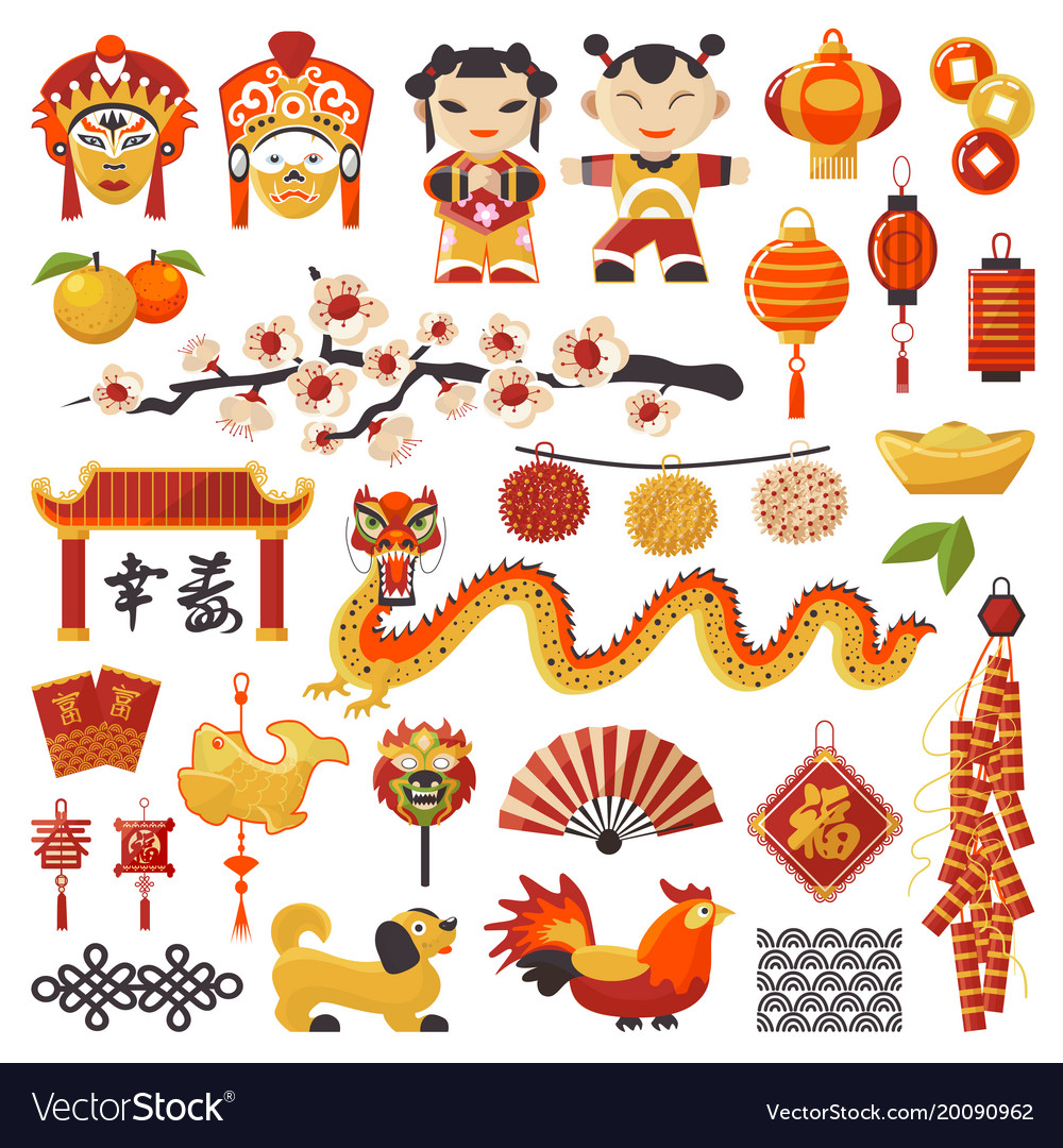 China new year icons set decorative holiday