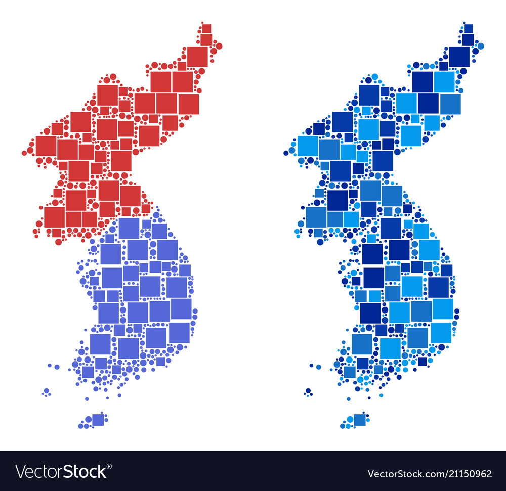 Dotted North And South Korea Map With Blue Variant