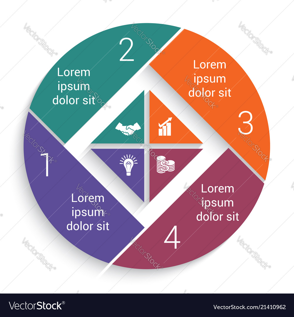 Infographic business pie chart for 4 options
