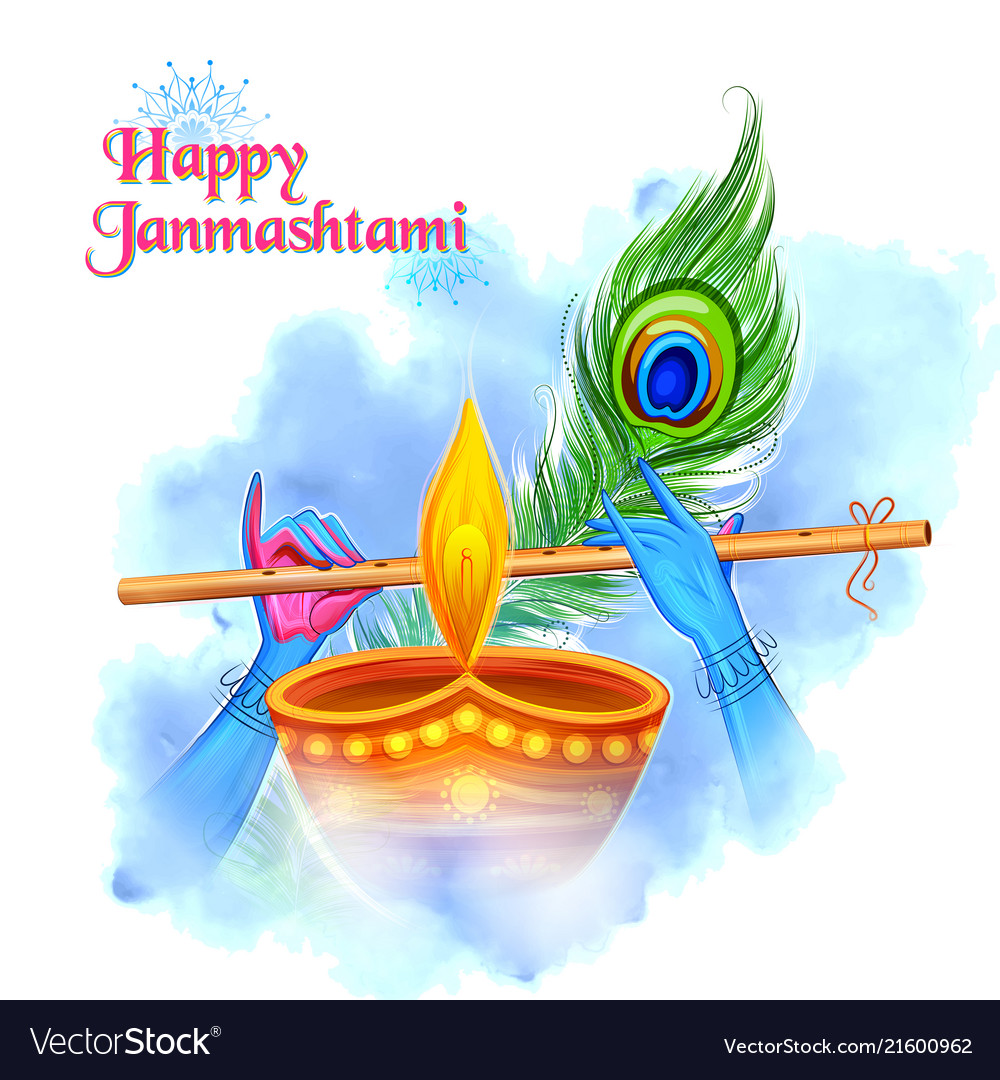 lord krishna playing bansuri flute in happy vector 21600962
