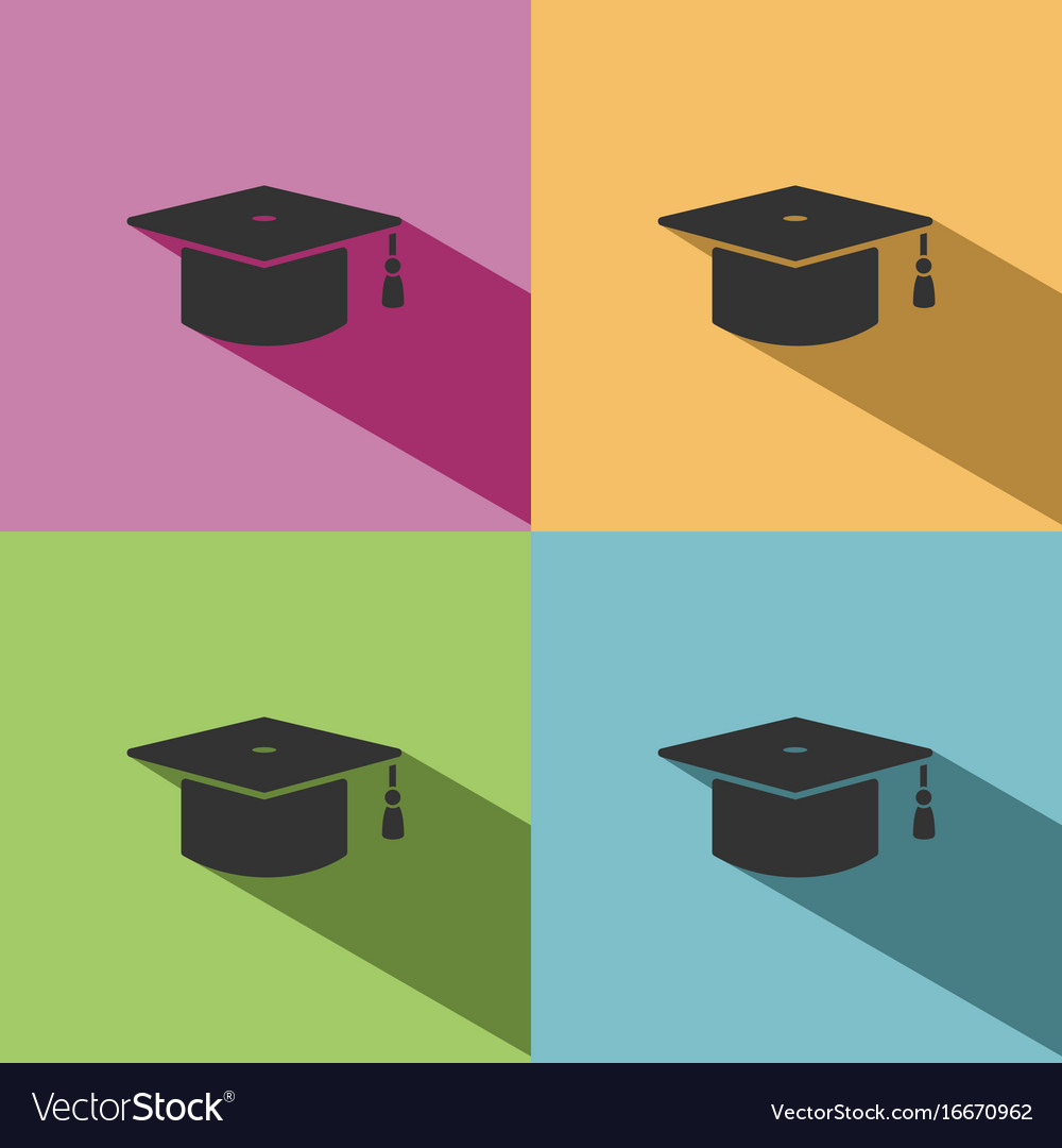 Mortarboard icon with shade on colored background