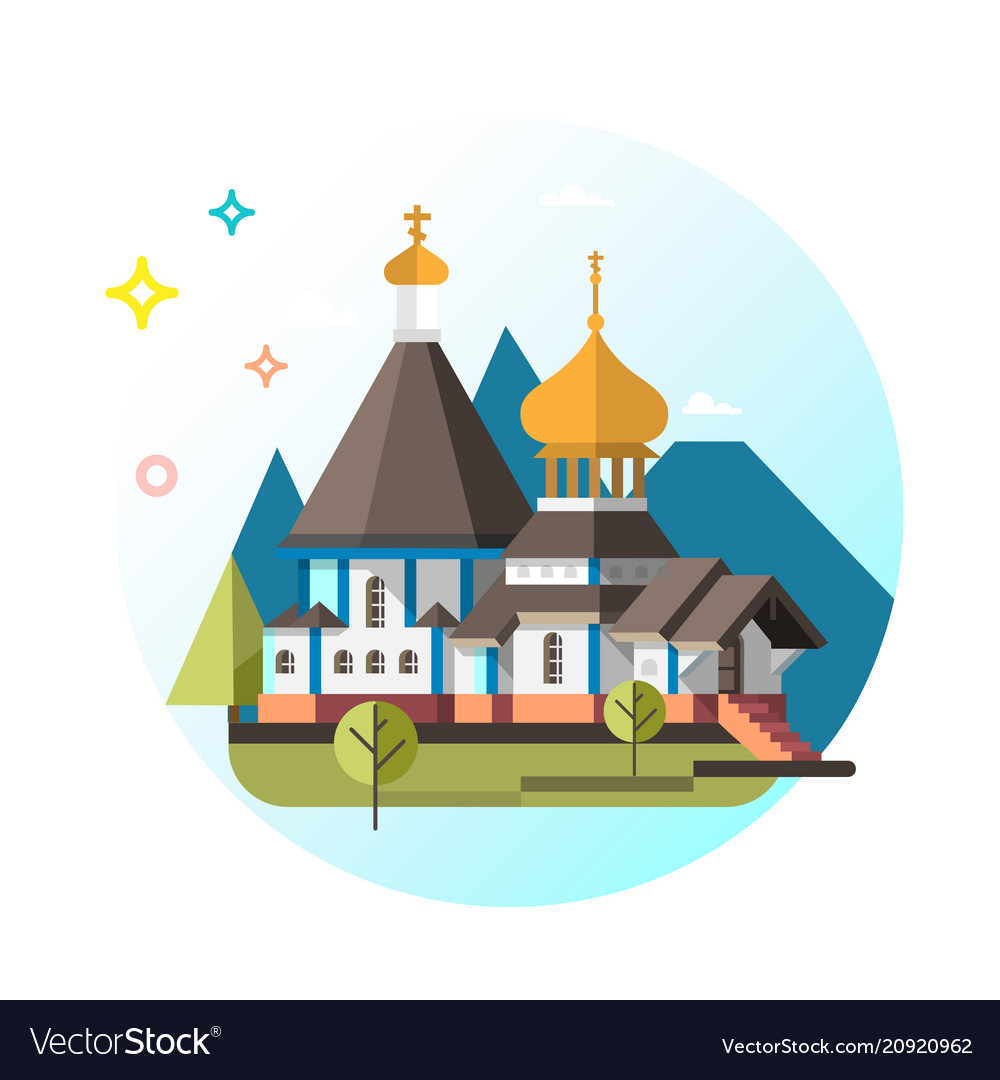 Orthodox church flat design