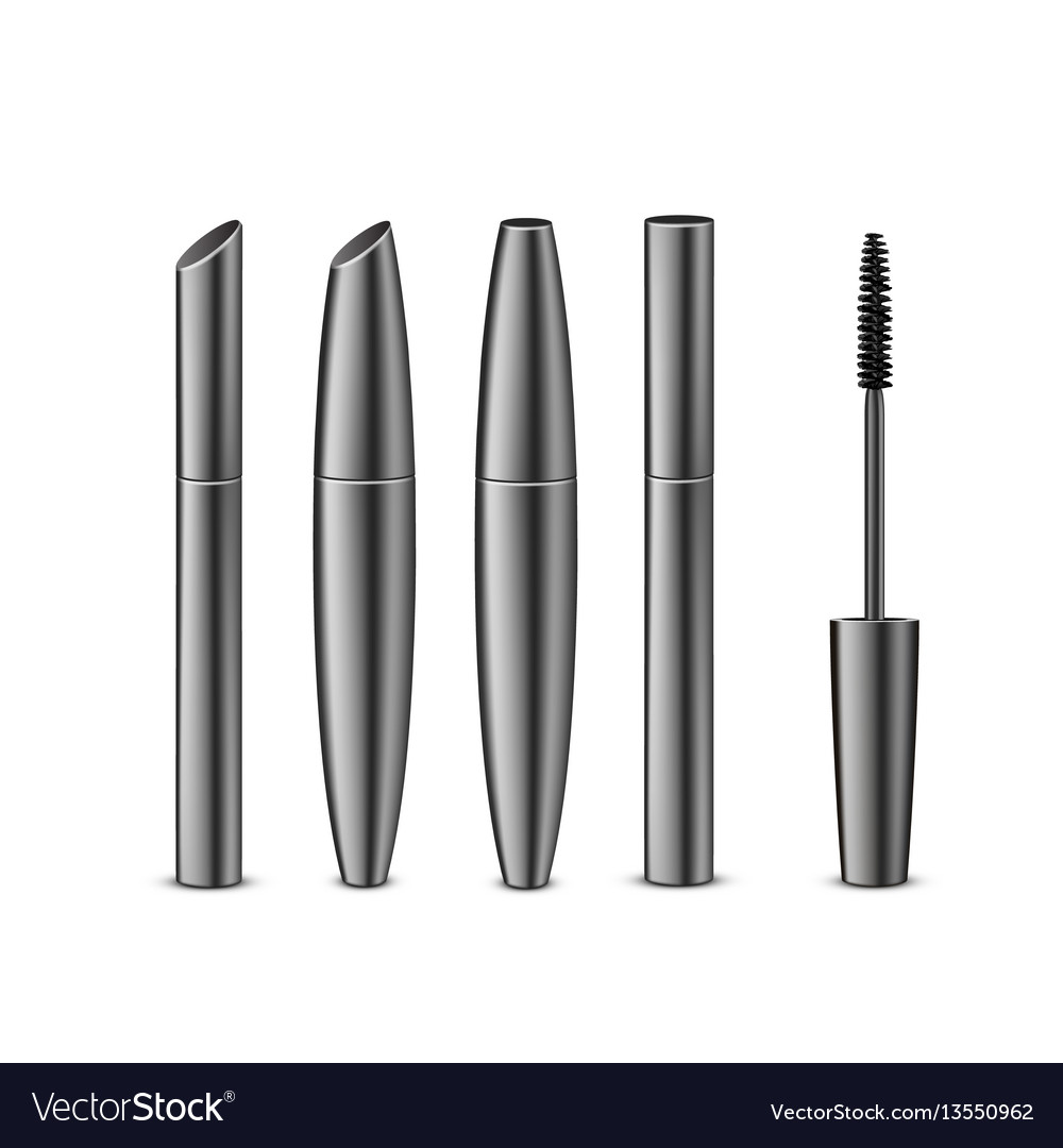 Set of different black mascara with brush