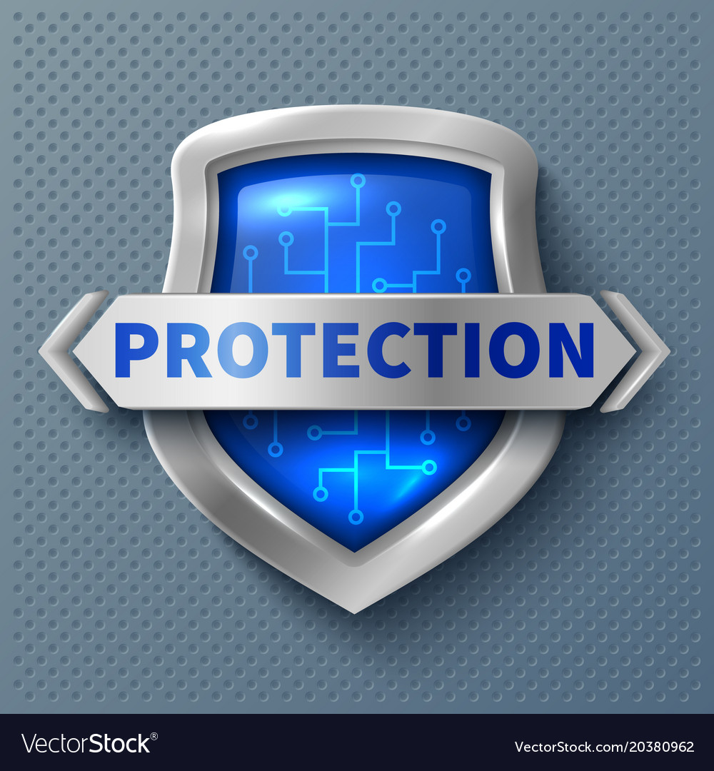Shiny protection metal shield realistic safety