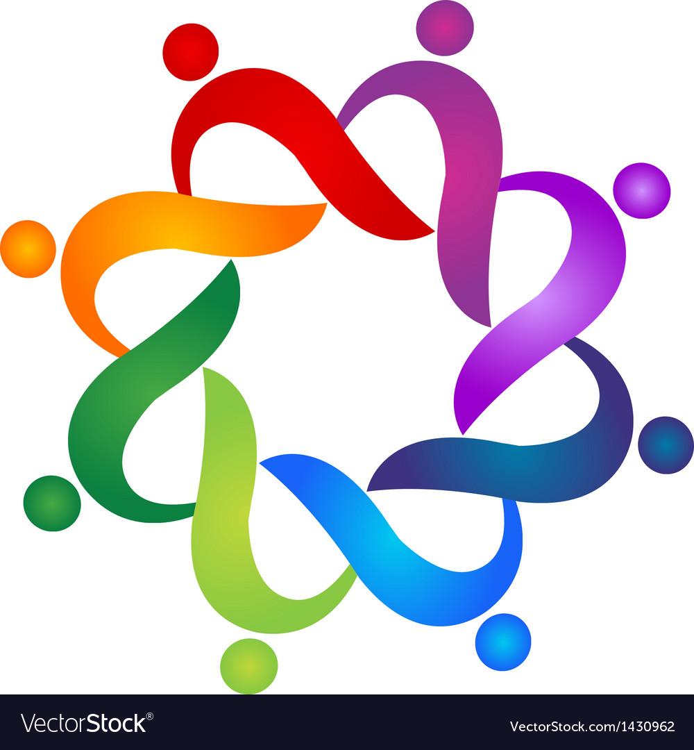 Teamwork helping social people logo vector image