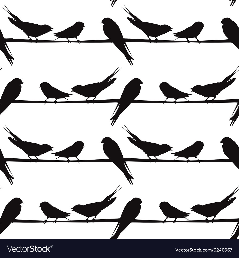 A Silhouette Of Birds On A Wire Royalty Free Vector Image