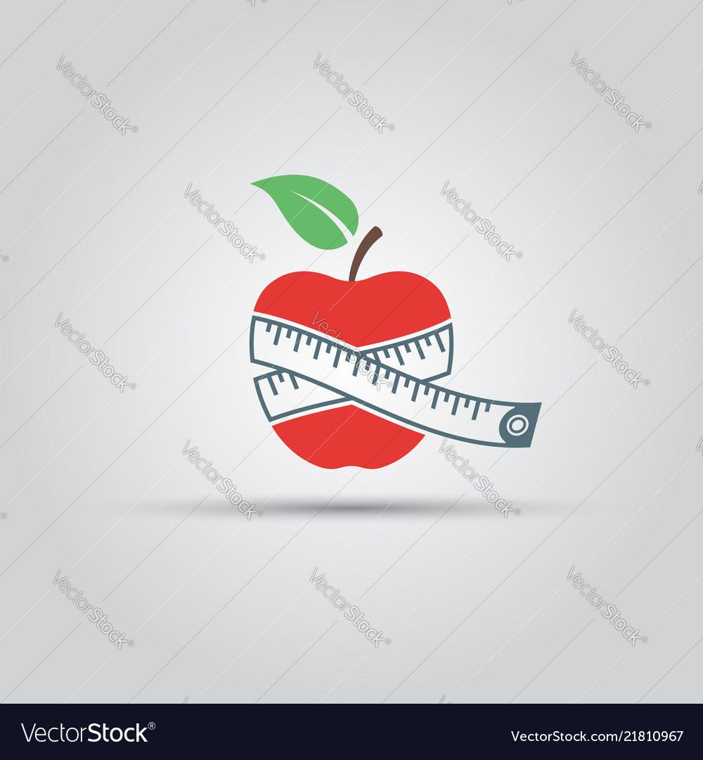 Apple and centimeter isolated icon