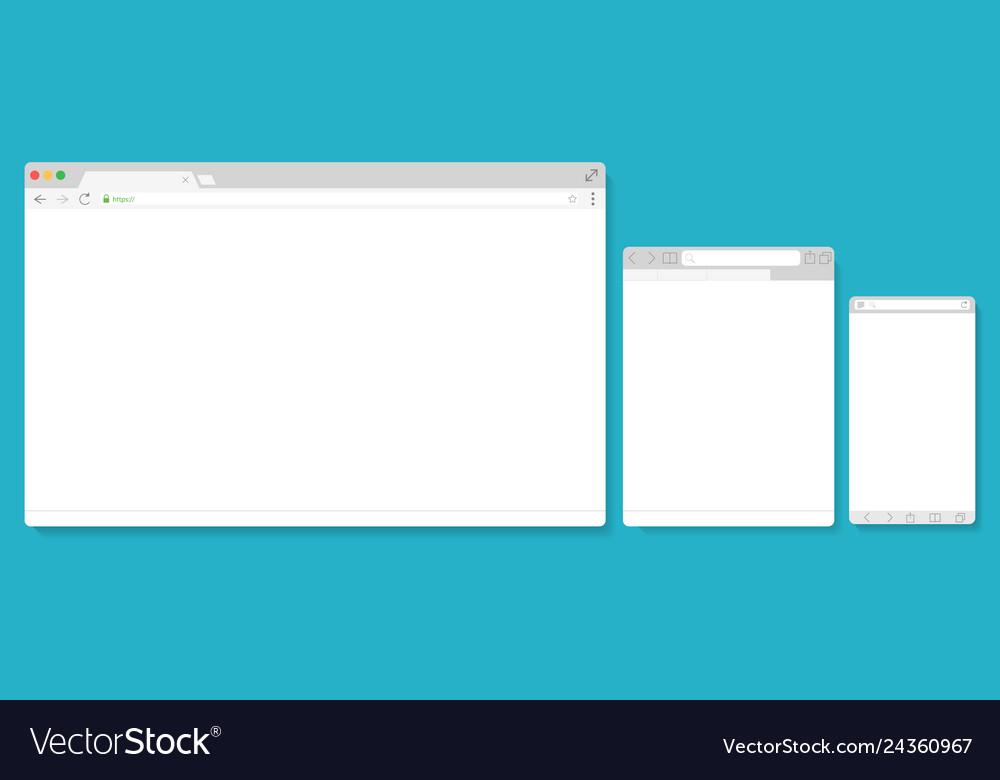 Browser windows empty template mockup set