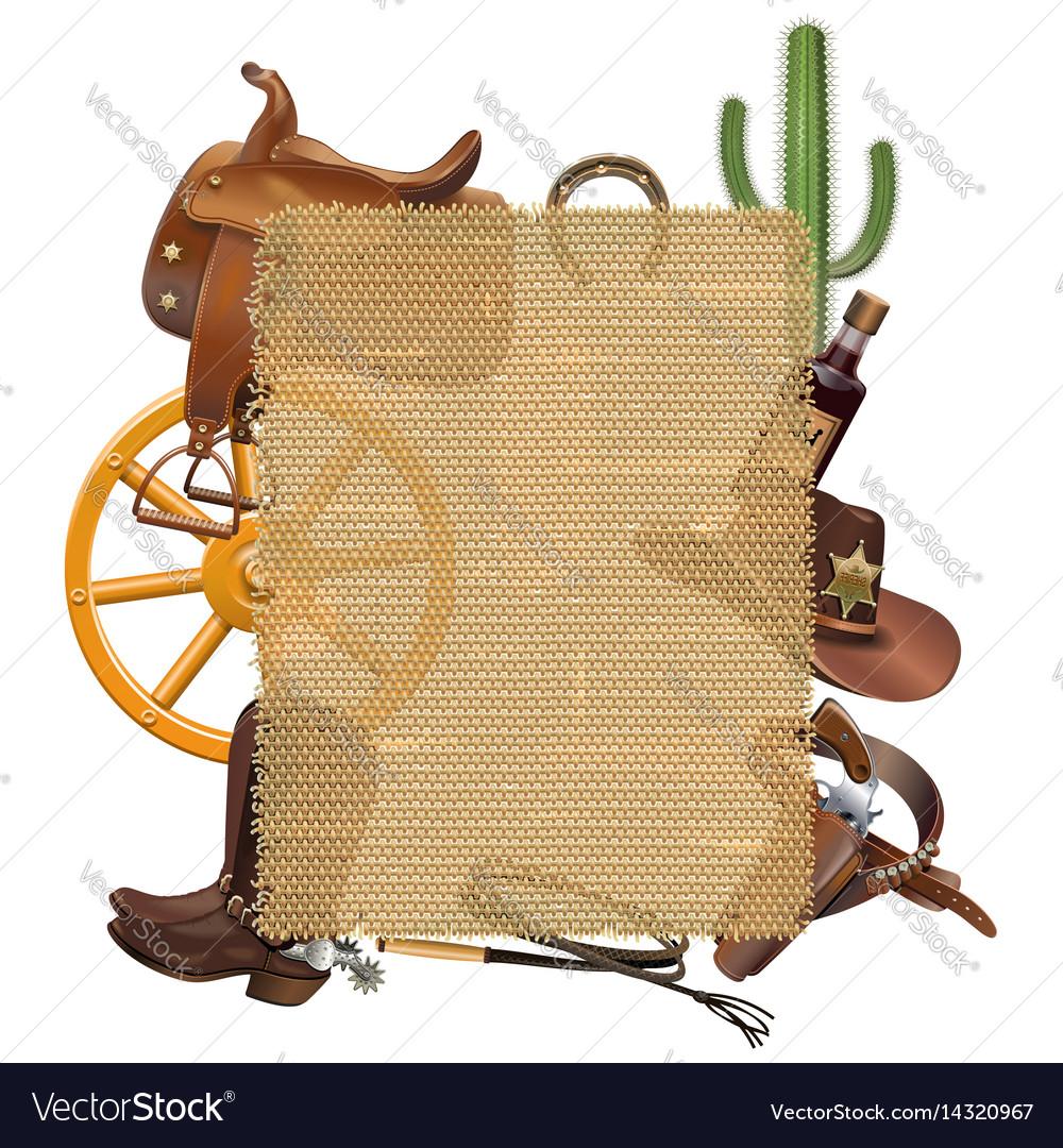 Cowboy sackcloth frame Royalty Free Vector Image