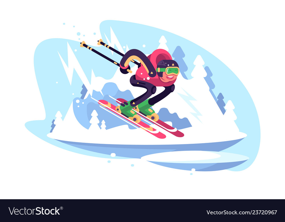 Happy man skiing in the mountains against blue sky