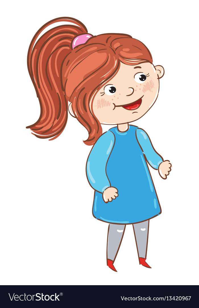 Happy young girl cartoon character Royalty Free Vector Image