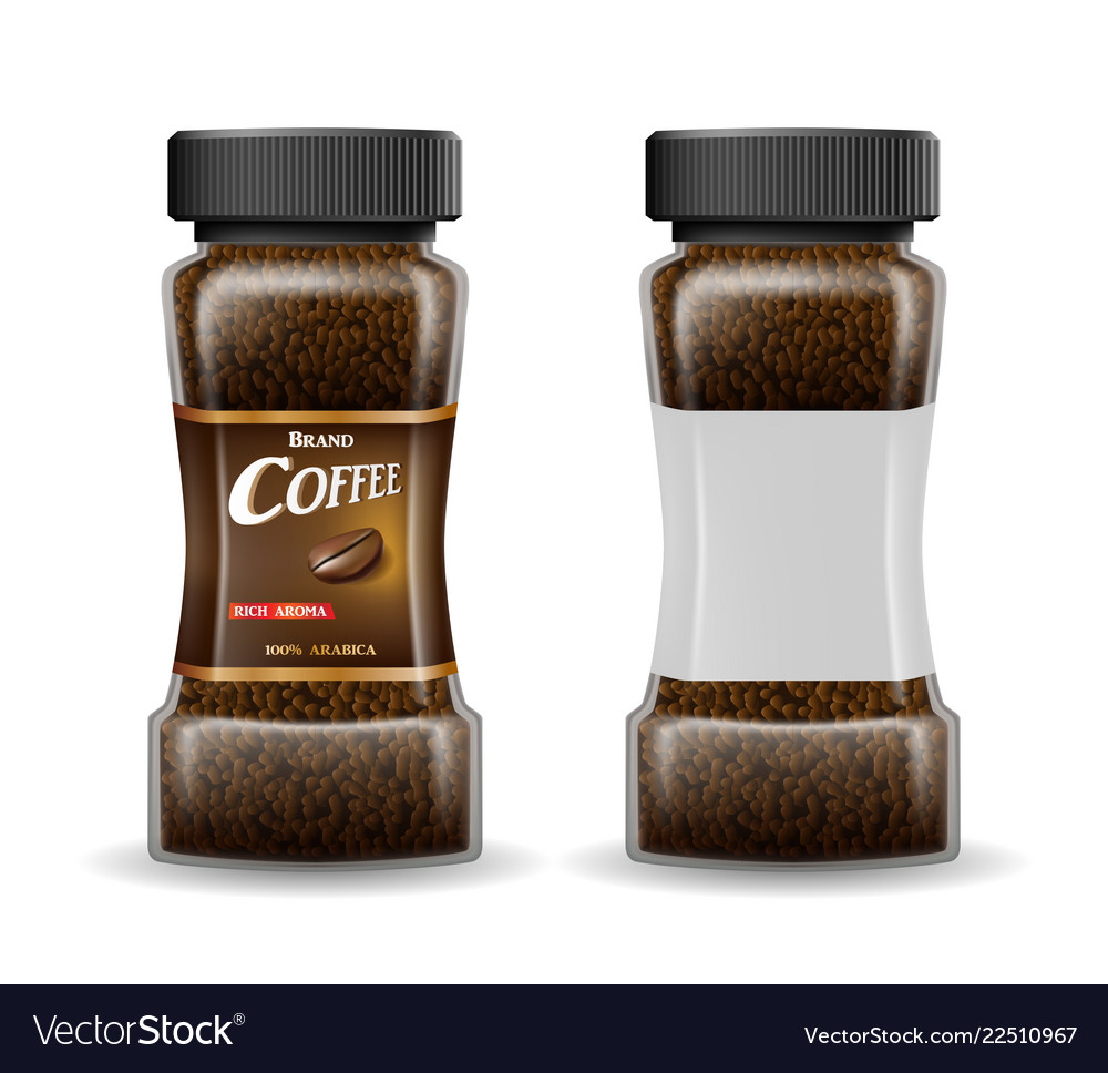 Instant coffee glass jar with coffee granules