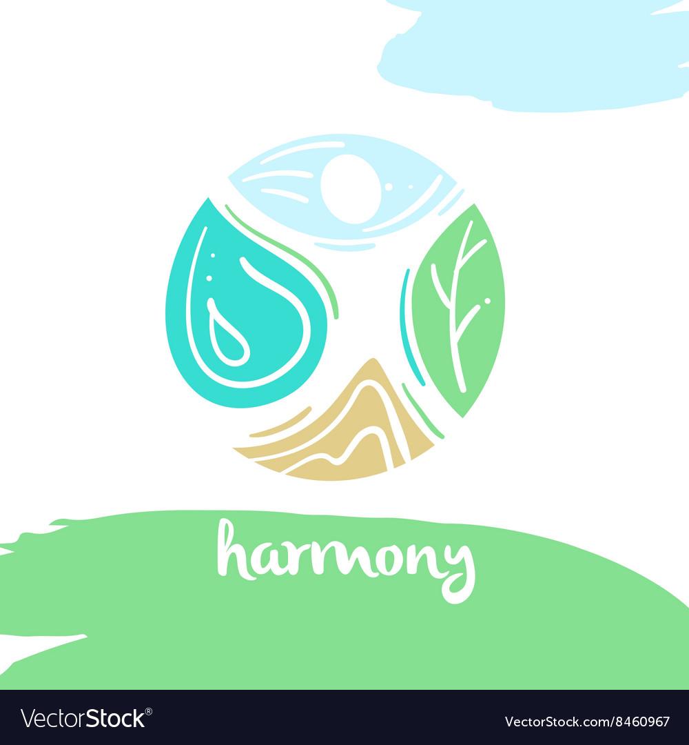 Logo harmony four nature element high mountain