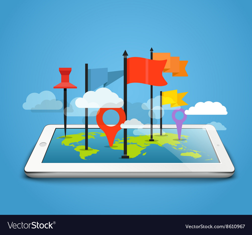 Modern tablet computer with the Earth map and pins vector image