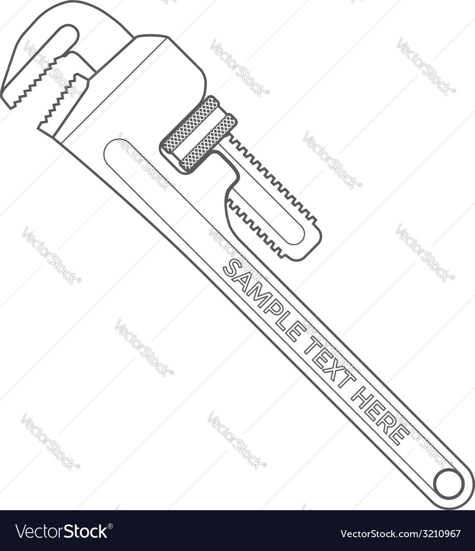 Outline pipe wrench vector image