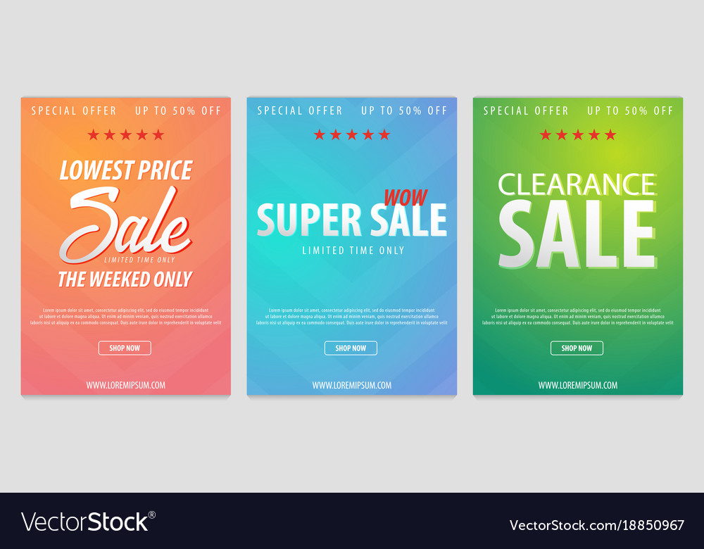 set of sale posters or flyers design discount vector image