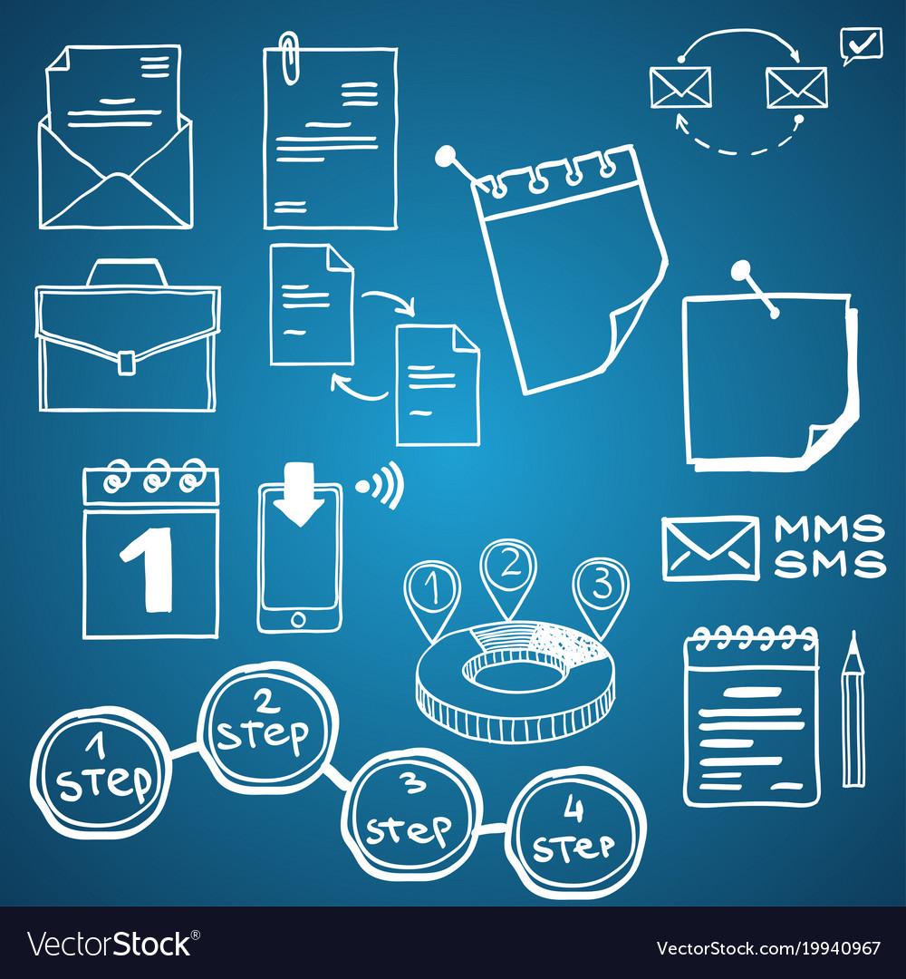 Set of social media business finance