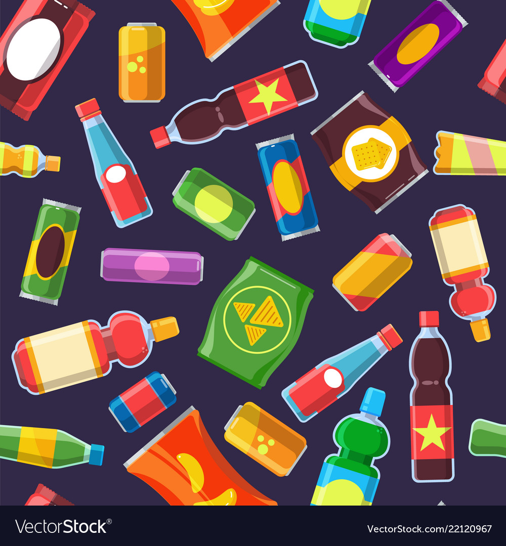 Snacks fast food pattern water candy cold soda