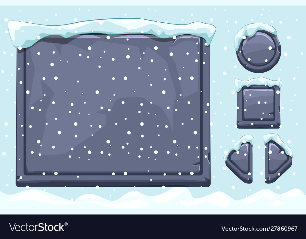 Snow covered stone assets and buttons for ui game