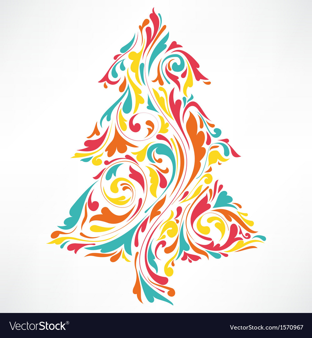 The abstract floral of Christmas tree