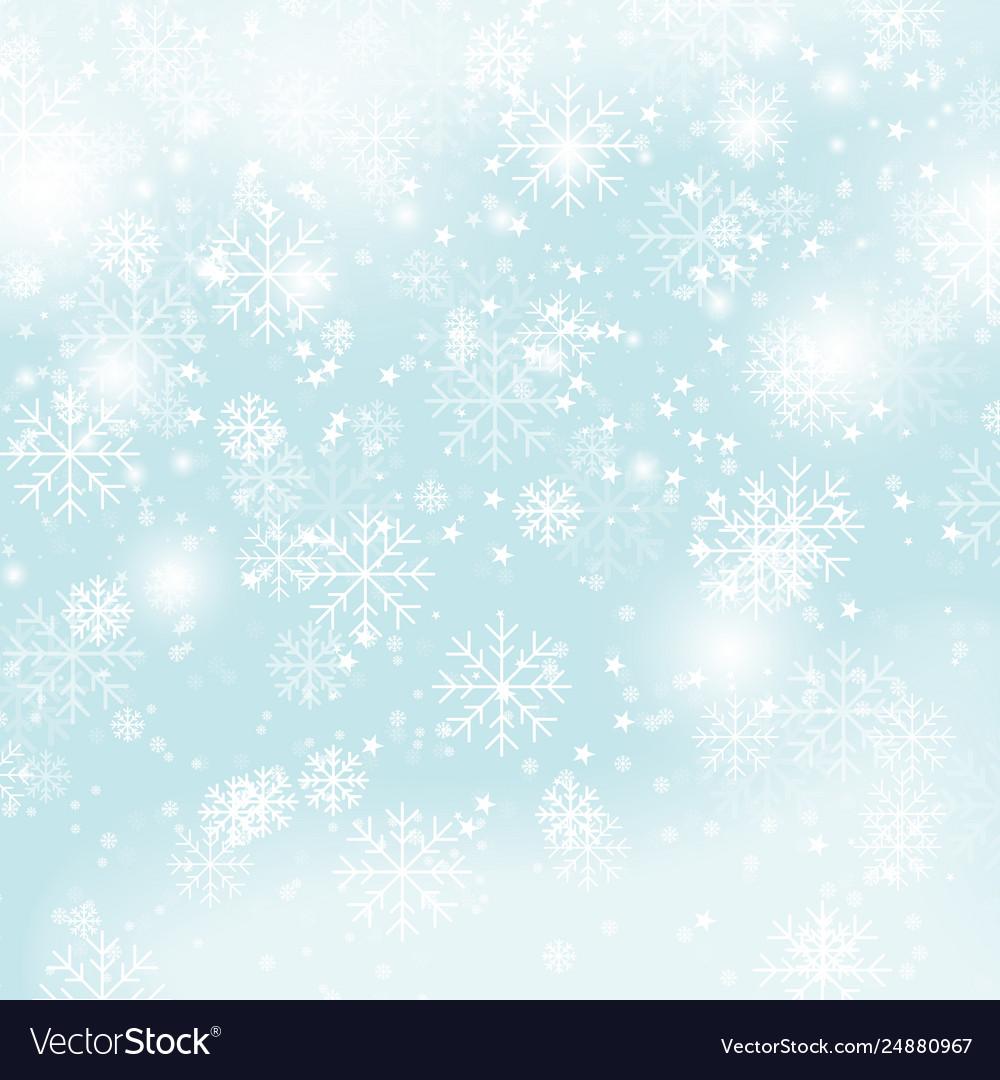 Winter snowflakes pattern christmas snow on blue