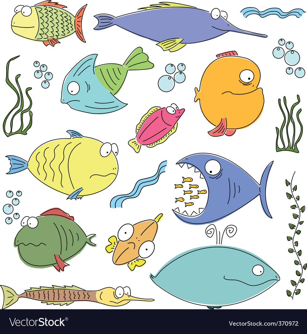 Cartoon comic fish vector