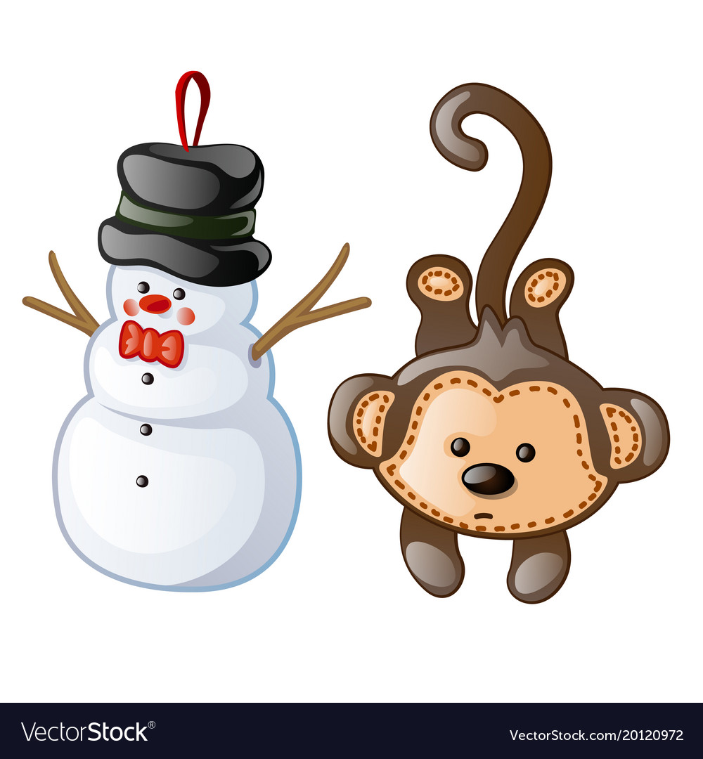 Christmas toys as figurine snowman and monkey