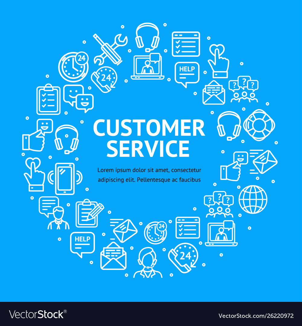 Customer service signs round design template thin