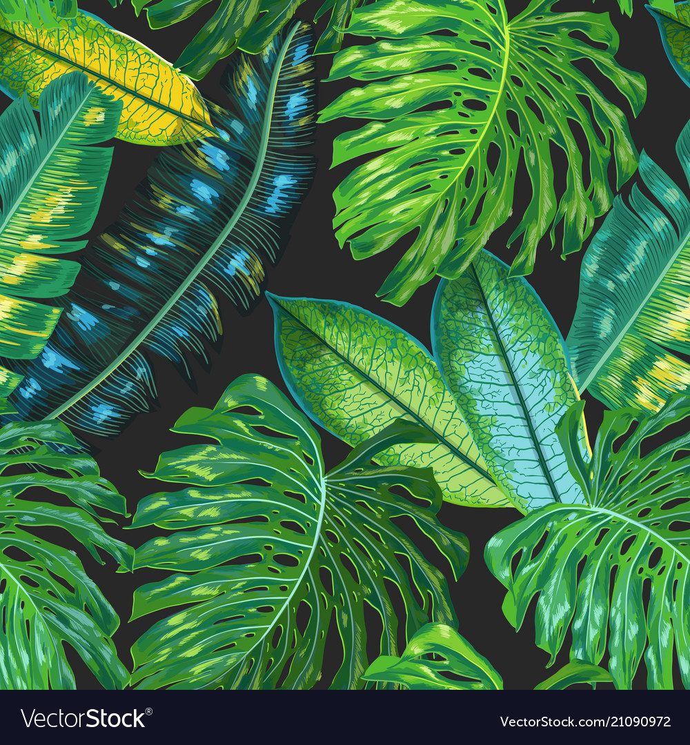 Floral Tropical Seamless Pattern Palm Leaves Vector Image A beautiful set of japanese seamless vector patterns. vectorstock