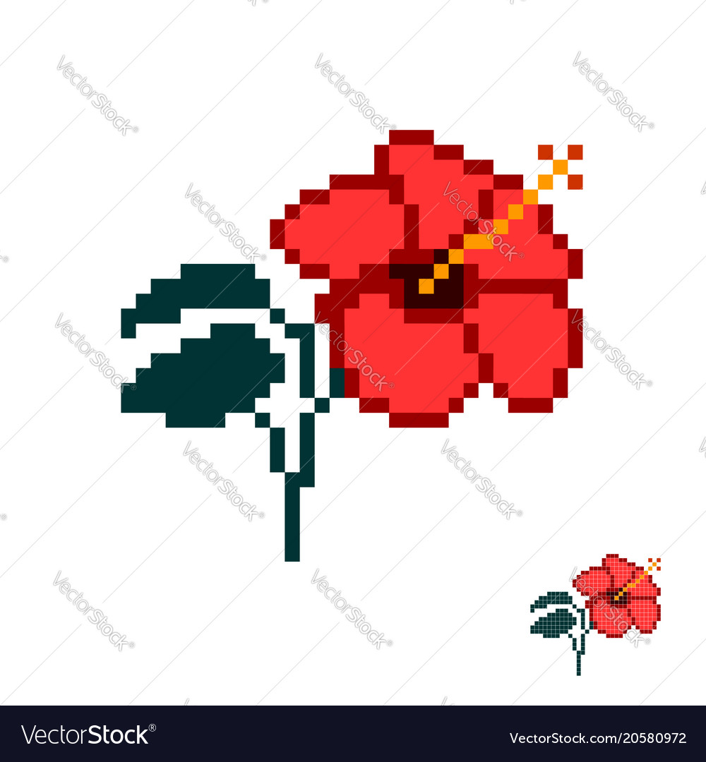 Flower in the style of pixel art red hibiscus vector image izmirmasajfo