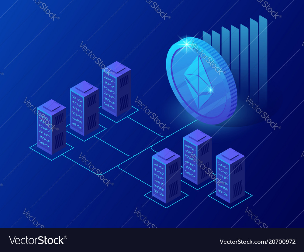 Isometric concept of cryptocurrency and blockchain