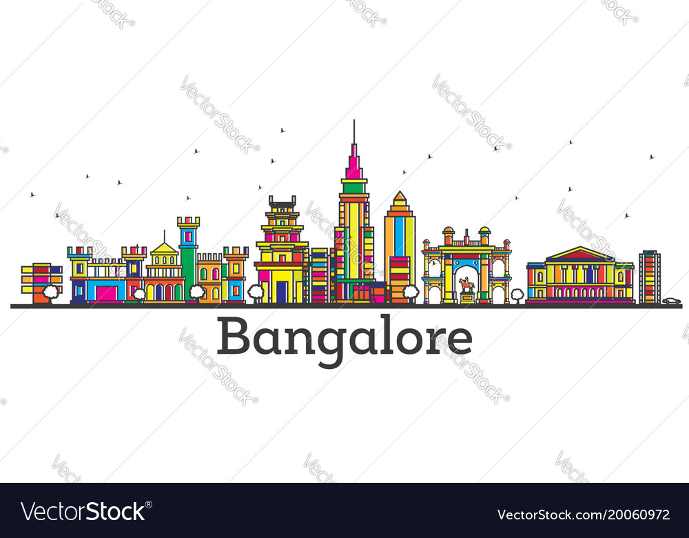 Outline bangalore india city skyline with color