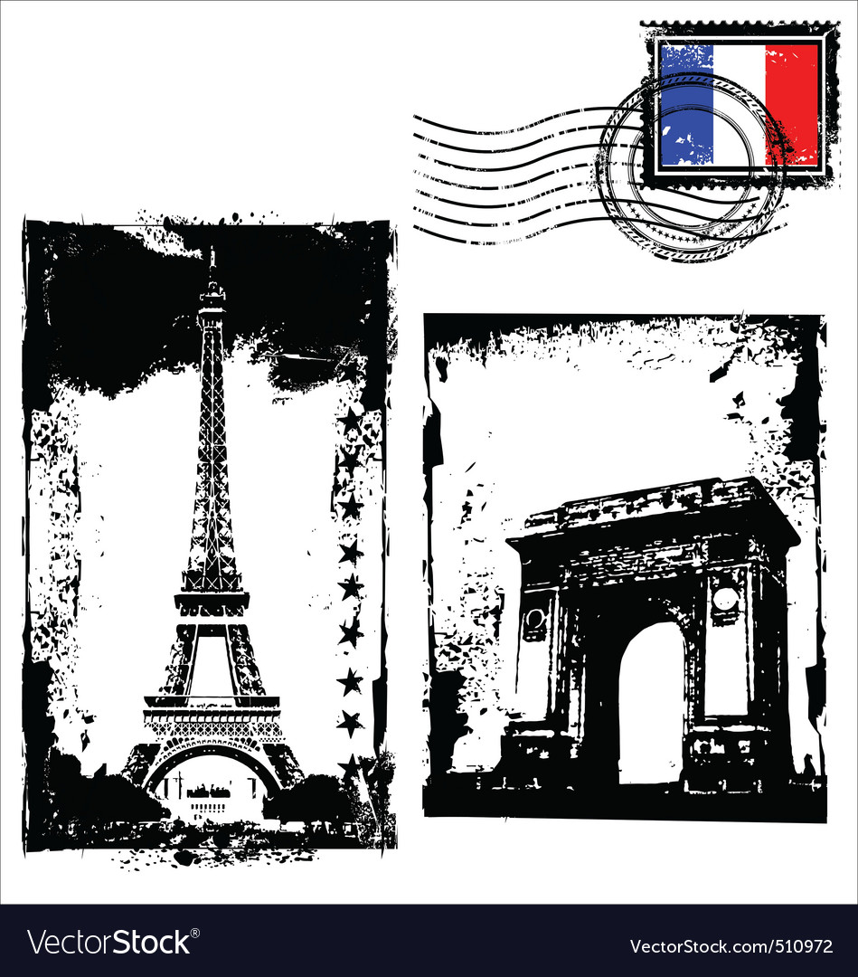 Paris in grunge frame