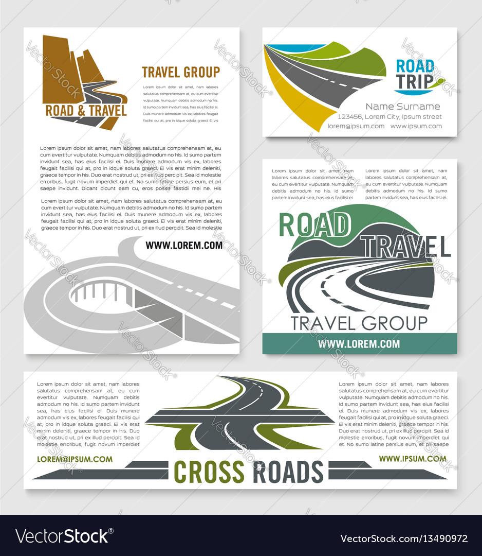 Road travel banner template set for tourism design