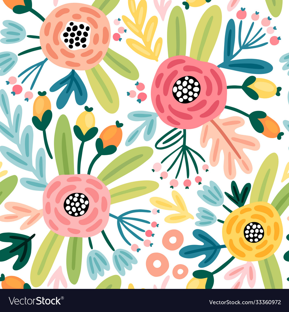 Seamless flourish pattern with flowers plants and