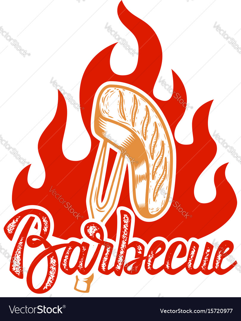 Barbecue hand written lettering logo label badge