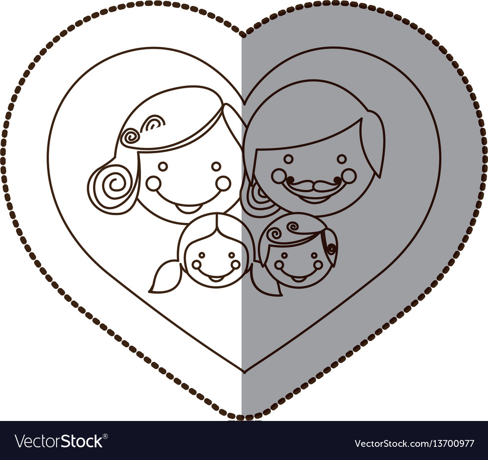 Beutiful family inside the heart icon