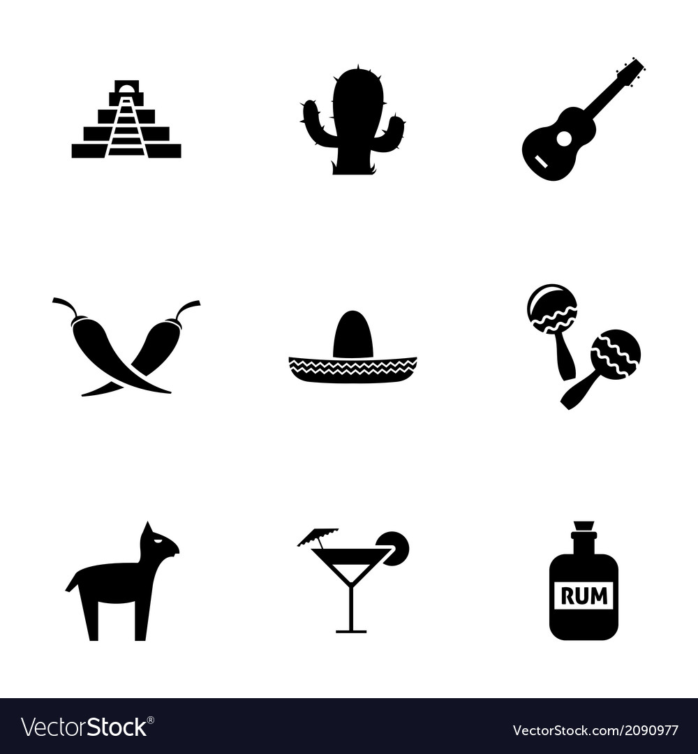 Black mexico icons set vector image