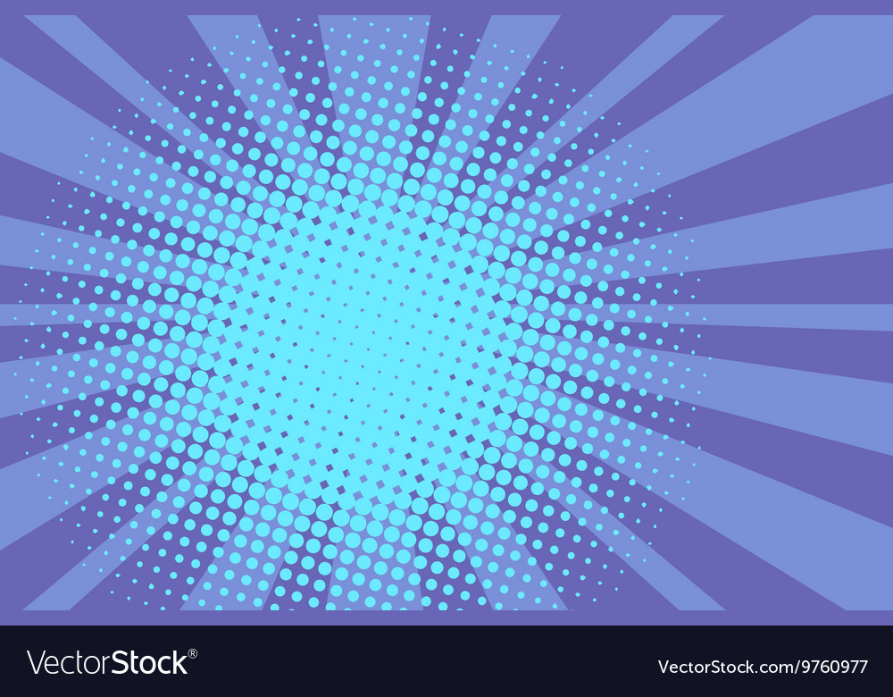 Blue rays retro comic pop art background