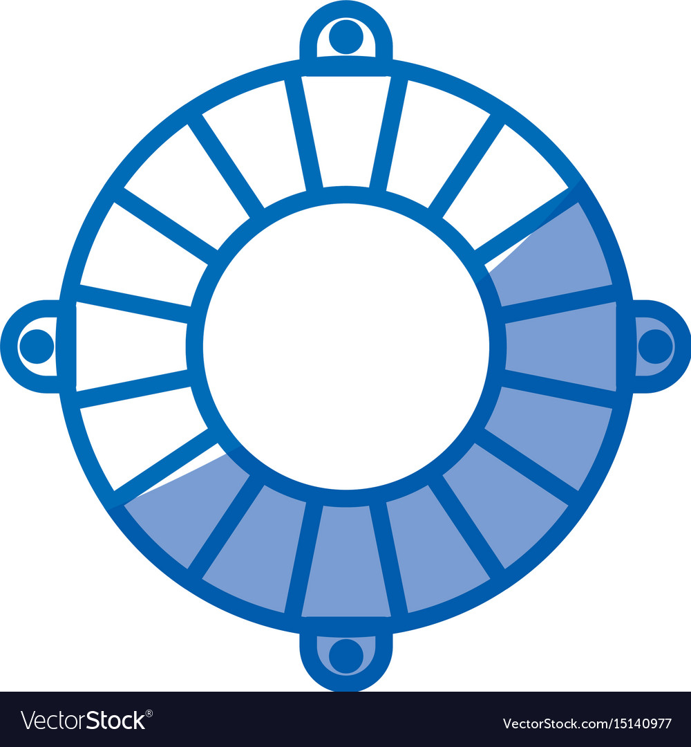 Blue shading silhouette of flotation hoop vector image