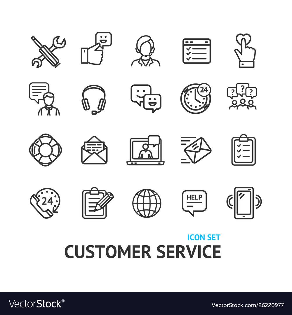 Customer service signs black thin line icon set