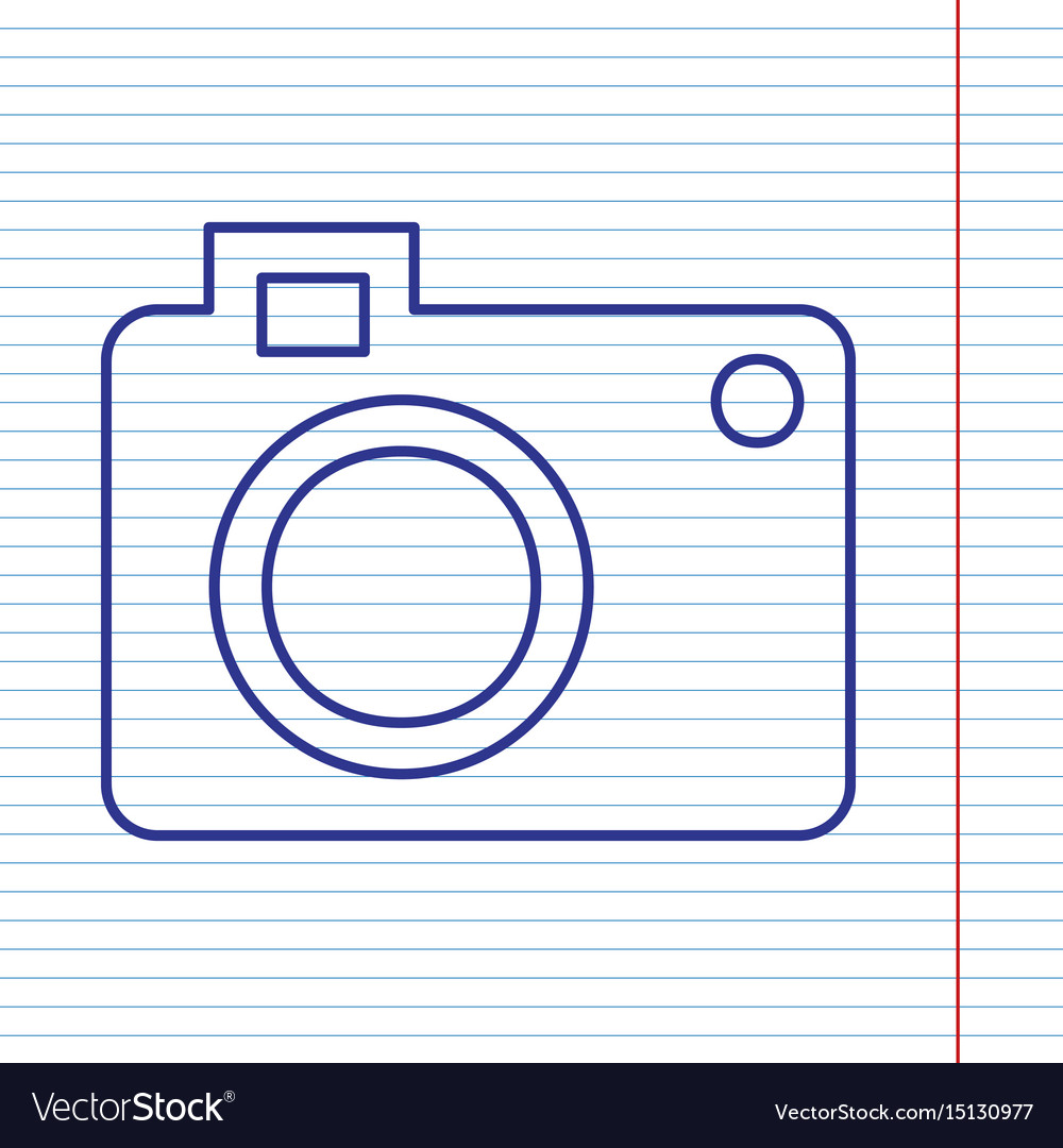Digital camera sign navy line icon on vector image