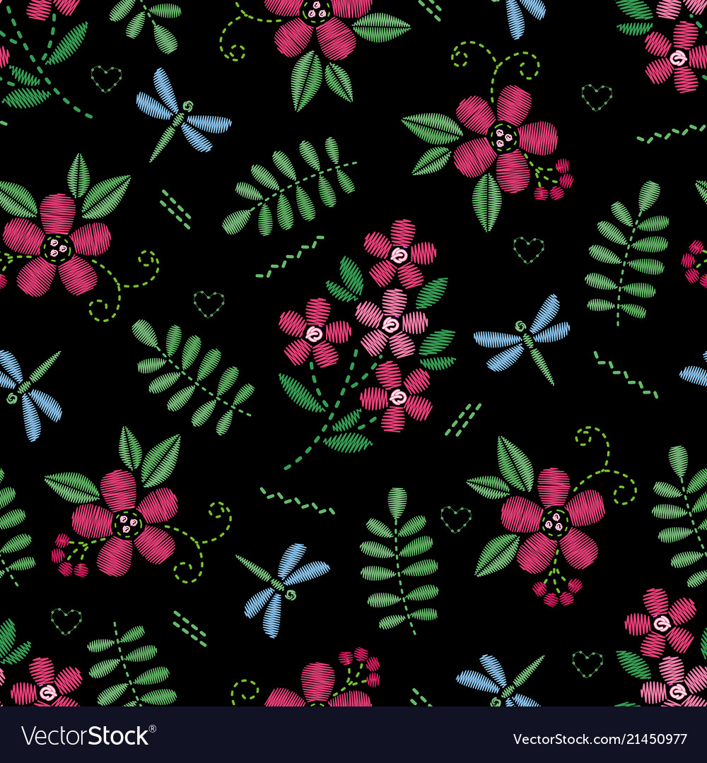 Embroidery seamless pattern with beautiful flowers